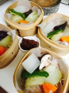 蒸し野菜&肉味噌